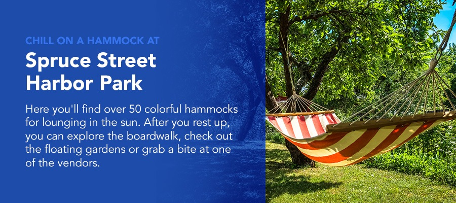 chill on a hammock at Spruce Street Harbor park